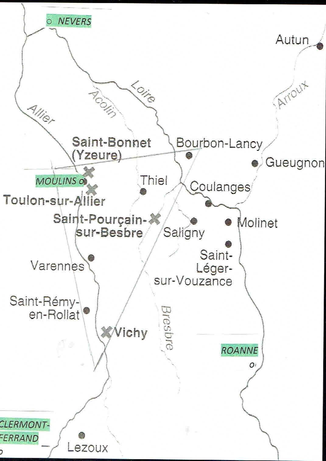 Carte des ateliers de potiers entre loire et allier